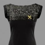 czarna bluzka Makalu z koronką - kolekcja zimowa