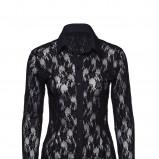 czarna koszula New Yorker z koronką - moda jesienna