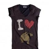 czarna koszulka Pull and Bear w serduszka - z kolekcji wiosna-lato 2011