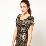 czarna sukienka Asos we wzory błyszcząca - kolekcja jesienno-zimowa