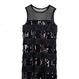 czarna sukienka H&M z frędzlami z cekinami