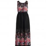 czarna sukienka Kappahl w kwiaty długa - lato 2011