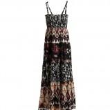 czarna sukienka Kappahl we wzory długa - lato 2011