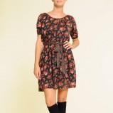 czarna sukienka Mango w kwiaty - jesień-zima 2010/2011