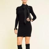 czarna sukienka Mango z kokardą - jesień-zima 2010/2011