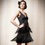 czarna sukienka Orsay z frędzlami - zima 2011/2012