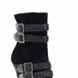 czarne kozaki Styleup z zapięciami wysokie - jesień 2011