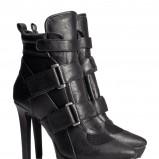 czarne na szpilce botki H&M - zimowe obuwie