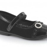 czarne pantofle BARTEK z aplikacją - jesień-zima 2012/2013