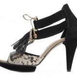 czarne sandałki Ryłko na wysokim obcasie - kolekcja na lato