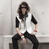 czarne spodnie H&M w grochy - wiosna-lato 2012
