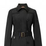 czarny płaszcz Van Graaf z pasem - sezon wiosenny
