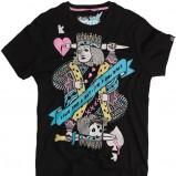 czarny t-shirt Pull and Bear z nadrukiem - moda 2011
