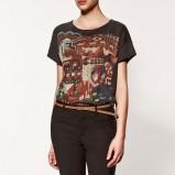 czarny t-shirt ZARA z nadrukiem - z kolekcji wiosna-lato 2012