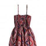 czerwona sukienka Pull and Bear we wzory - wiosenna kolekcja
