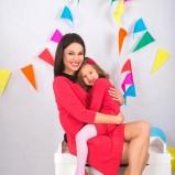 czerwona sukienka SmallBig z kołnierzykiem dla mamy i córki