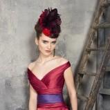 czerwona sukienka wieczorowa Manu Garcia z falbanami - moda 2012