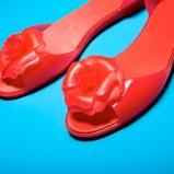 czerwone baleriny MEL z kwiatkiem - obuwie na lato 2013