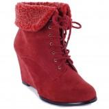 czerwone botki Poppy z kożuszkiem - trendy na jesień-zimę