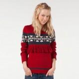 czerwony sweter Bershka we wzory - kolekcja jesienno-zimowa