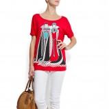 czerwony t-shirt Mango z nadrukiem - wiosna/lato 2012