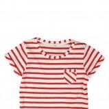 czerwony t-shirt Reporter w paski - sezon letni