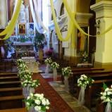 Dekoracje kościołów, alejka ślubna, kielce