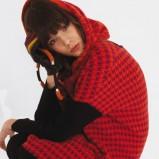 długa bluza Solar w pepitkę w kolorze czerwonym - kolekcja damska