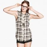 długa koszula H&M w kratkę - jesień 2013