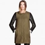 długa kurtka H&M w kolorze khaki - moda na jesień 2013