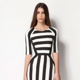 dopasowana sukienka Bershka w paski - trendy na wiosnę i lato 2013