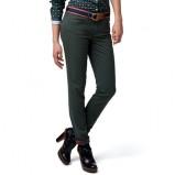 Dopasowane spodnie Tommy Hilfiger ciemno-zielone rurki   na jesień i zimę 2012 i 2013