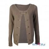 dwurzędowy sweter Camaieu w kolorze brązowym   - ubrania dla kobiet na jesień i zimę