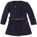 Dziewczęca płaszcz Tommy Hilfiger czarny z paskiem w tali guziki na jesień i zimę 2012- 2013