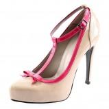 ecru pantofle Prima Moda z kokardą na szpilce - wiosna 2012