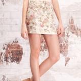 ecru spódnica Stradivarius w kwiaty - z kolekcji wiosna-lato 2012