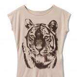 ecru t-shirt Mohito z nadrukiem - wiosna-lato 2012