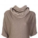 elegancki z krótkim rękawem sweter Caterina w kolorze brązowym - kolekcja damska