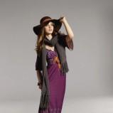 fioletowa sukienka Orsay długa - jesień 2011