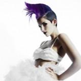 Fioletowe włosy irokez