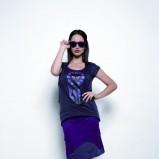 granatowa bluzka Skunkfunk z nadrukiem - kolekcja zimowa