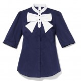 granatowa koszula Mohito z kokardą - kolekcja jesienno-zimowa