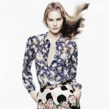 granatowa koszula ZARA w kwiaty - z kolekcji wiosna-lato 2012