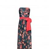 granatowa sukienka Mango w kwiaty długa - wiosna/lato 2012