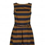 granatowa sukienka Troll w pasy - jesień 2012