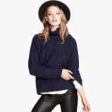 gruby sweter H&M w kolorze granatowym - moda na jesień 2013