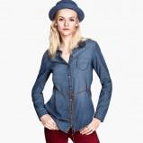 jeansowa koszula H&M - moda na zimę