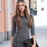 jesienna sukienka H&M w kolorze popielatym z rękawem 3/4 - jesień - zima 2012/13