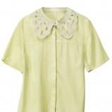 khaki bluzka H&M z kołnierzem - lato 2012
