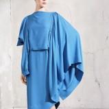 Klasyczna błękitna sukienka H&M marszczona jesień i zima 2012/2013